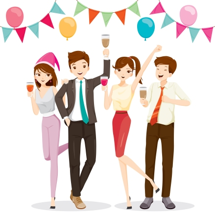 Man And Woman Fun In Party With Drink